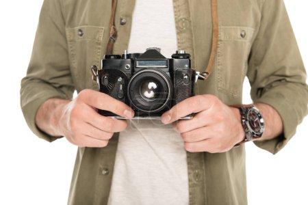 Man holding photo camera