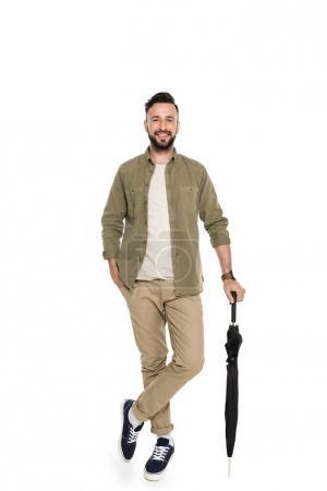 smiling man with umbrella