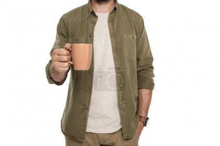 Photo for Cropped shot of man holding cup of coffee in hand isolated on white - Royalty Free Image