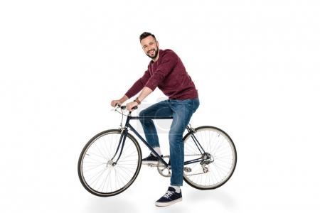 Photo pour Heureux homme caucasien vélo isolé sur blanc - image libre de droit