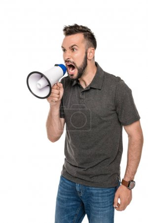 man screaming in loudspeaker