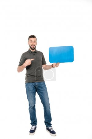 Man pointing at speech bubble