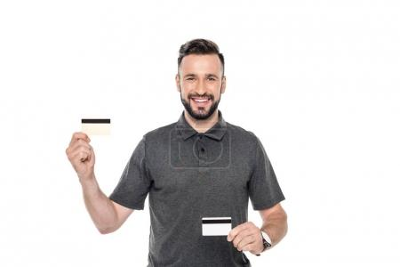 man showing credit cards
