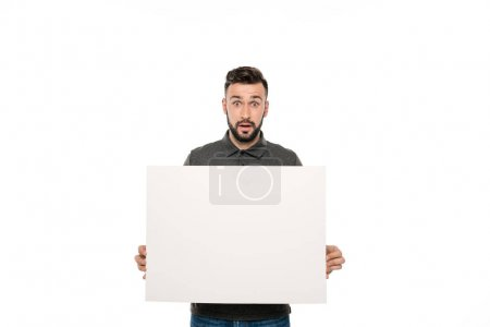 man with blank banner
