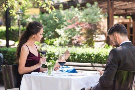 Couple during romantic date in restaurant