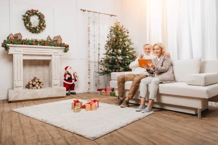 Couple making video call on christmas
