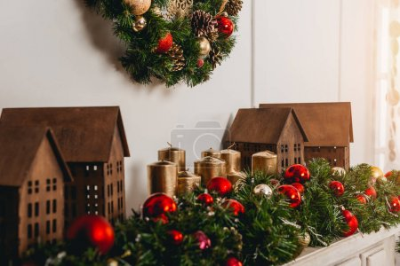 Photo for Beautiful christmas decorations on fireplace - Royalty Free Image