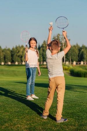 Children playing badminton