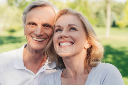 Photo for Portrait of happy senior couple together in park - Royalty Free Image