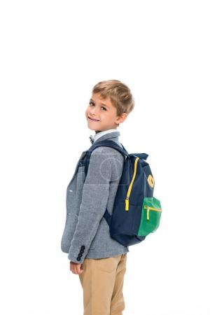 smiling schoolboy with backpack