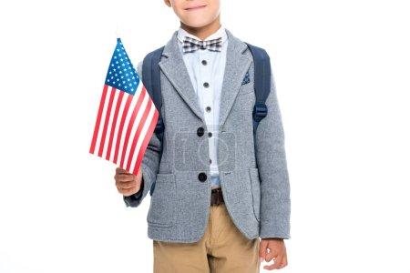 Happy schoolboy with usa flag