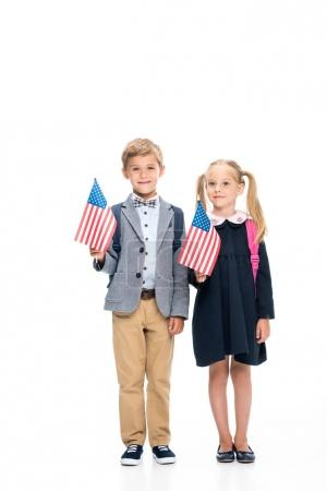 pupils with american flags
