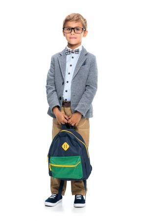 Happy little schoolboy with backpack