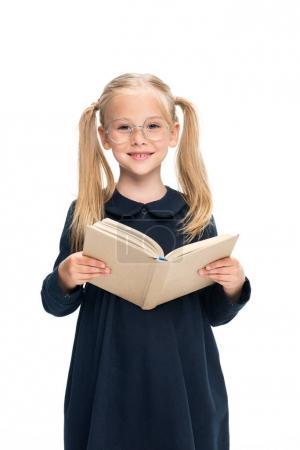 smiling schoolgirl with book