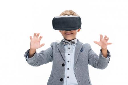 schoolboy in VR headset