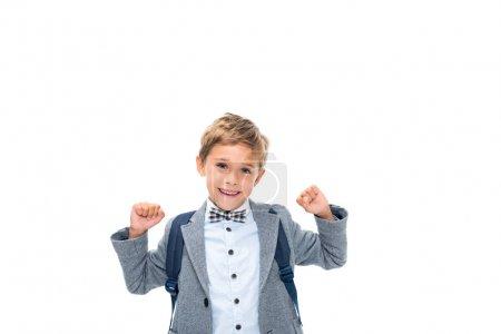 schoolboy celebrating victory