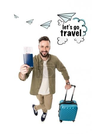 man with suitcase, passport and tickets