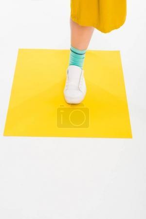 Female foot in sneaker