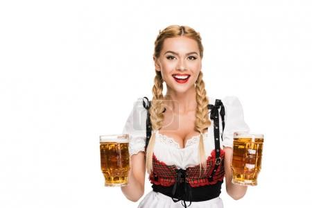 waitress with beer glasses