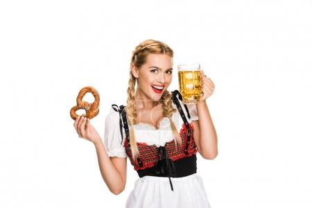 German girl with beer and pretzel