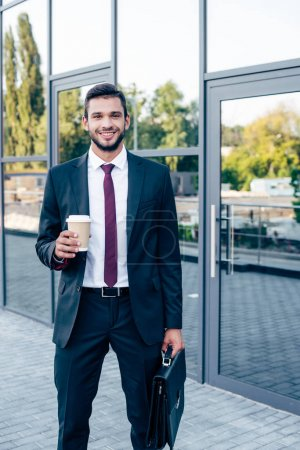 businessman with briefcase and coffee