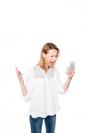 angry woman with smartphone