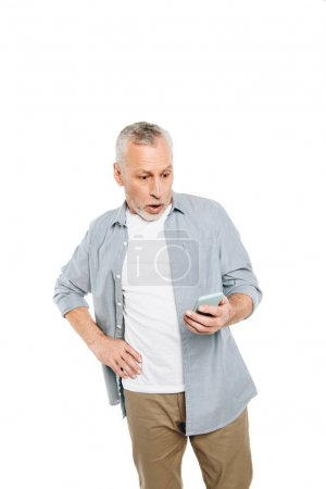 shocked man with smartphone