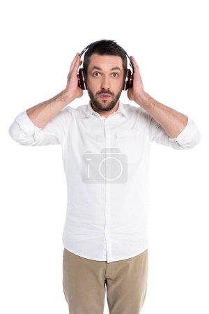 Surprised man in big headphones