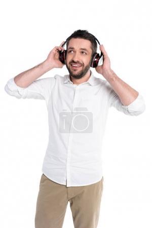 Smiling man in big headphones