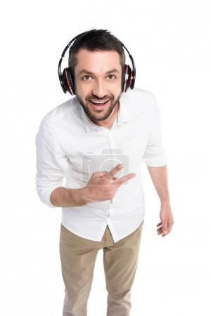 Man in headphones showing peace sign