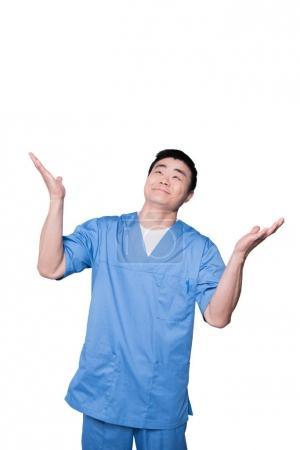 Doctor raising hands happily