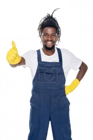 african american cleaner with thumb up