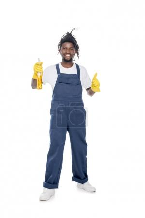 african american cleaner with detergent