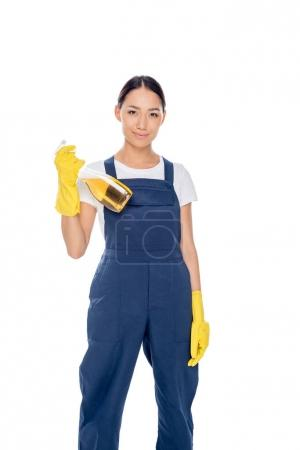 asian cleaner with detergent in hand