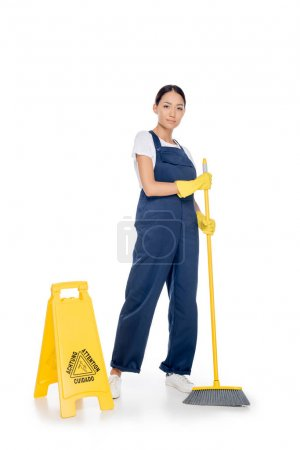 Asian cleaner with broom
