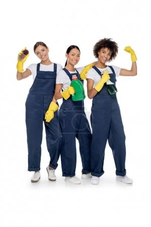 smiling multicultural cleaners