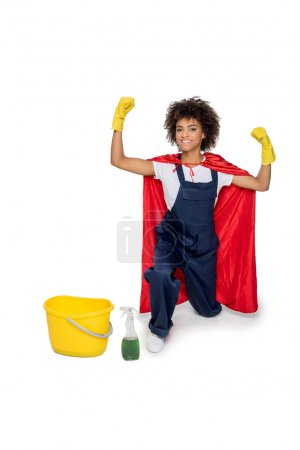 african american cleaner in uniform