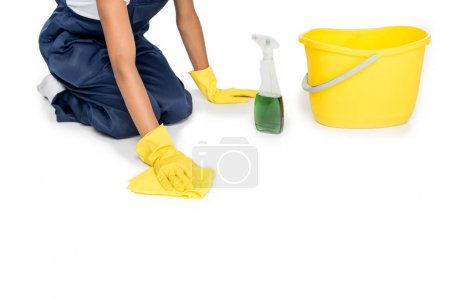 cleaner tidying floor