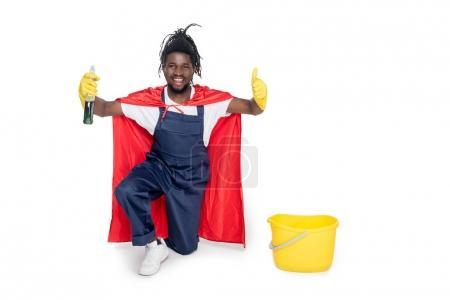 smiling superhero cleaner
