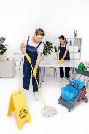 professional young multiethnic cleaners