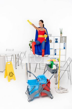 Asian superhero cleaner