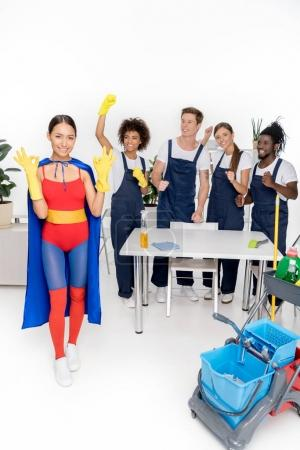 multiethnic group of professional cleaners