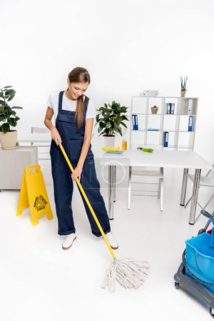 young cleaner with mop