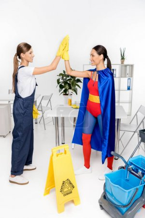 cleaners giving high five