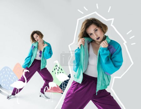 Photo for Fashion collage of attractive young girl in vintage windcheater suit in drawn mountains with flamingos - Royalty Free Image