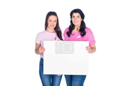 women holding blank banner