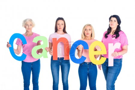 Women holding word cancer