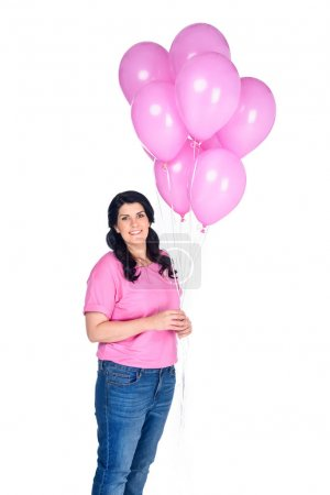 woman with pink balloons