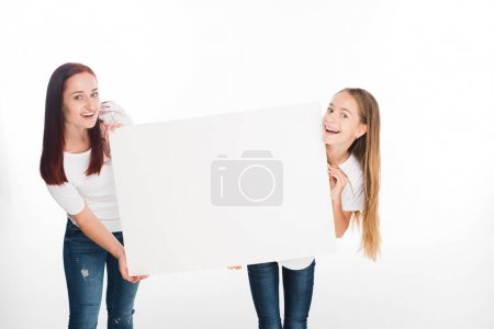 Daughter and mother with banner