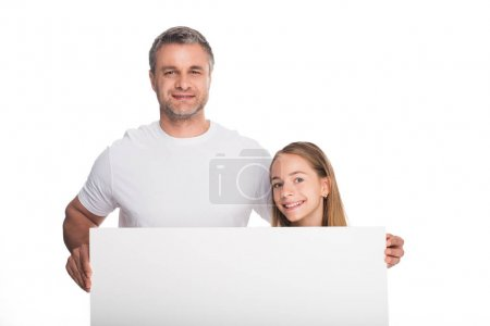 Daughter and father with banner